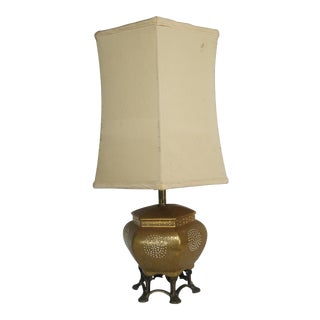Vintage Mid-Century Japanese Gold Moriage Lamp For Sale