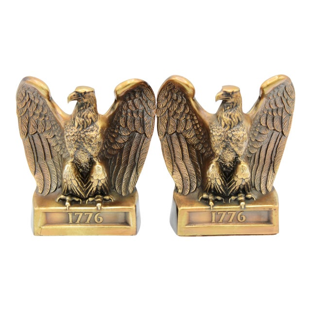 "Vintage ""1776"" American Federal Eagle Bookends For Sale"