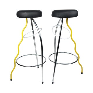 Yellow Duplex Bar Stools by Javier Mariscal for Bd Barcelona - a Pair For Sale