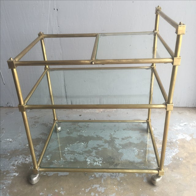 Vintage Mid Century Brass Bar Cart - Image 2 of 6