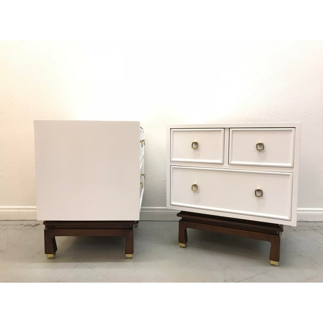 Amazing pair of nightstands by American Of Martinsville Newly refinished in a semi gloss Lacquer, polished brass plated...