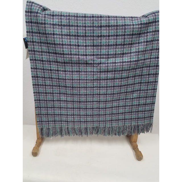 Merino Wool Throw Green Purple and Black Dots Square- Made in England A fun and versatile throw in a dot and square design...