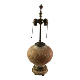 Satin Glass Peach & White Bird Motif Table Lamp For Sale