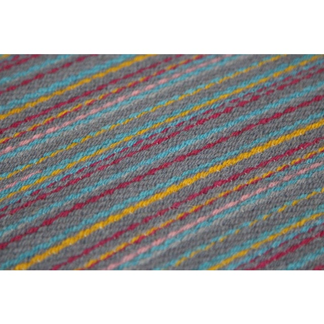 "Flat Weave Wool Striped Blue Kilim Rug - 2'8"" x 7'6"" - Image 8 of 10"