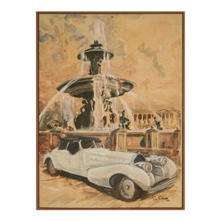 c.1946 Original Watercolor of a Bugatti Royale by Pierre Clairin For Sale