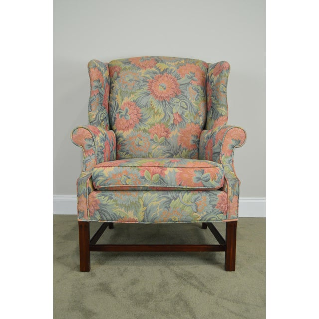 Southwood Chippendale Style Mahogany Frame Floral Upholstered Pair of Wing Chairs For Sale - Image 4 of 13