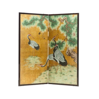 "Lawrence & Scott Japanese Style 2-Panel ""Cranes at Rest"" Hand-Painted Gold Foil Screen For Sale"