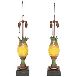 Tole Appointed Pineapple Table Lamps - a Pair For Sale