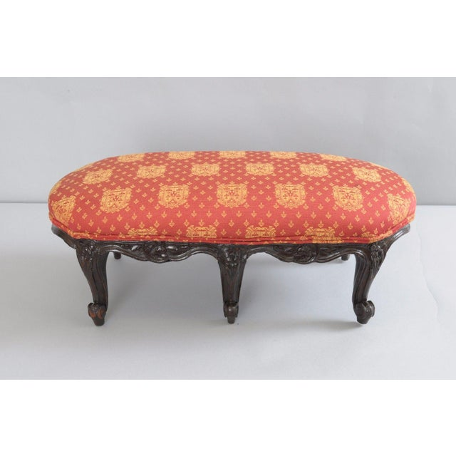 Antique Country French Louis XV Carved Wood Footstool For Sale - Image 9 of 11