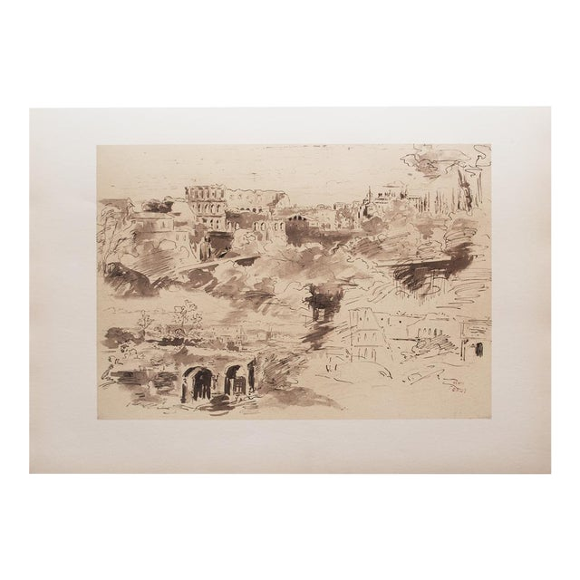 """The Colosseum"" by Jean-Baptiste-Camille Corot, Large Vintage Lithograph For Sale"