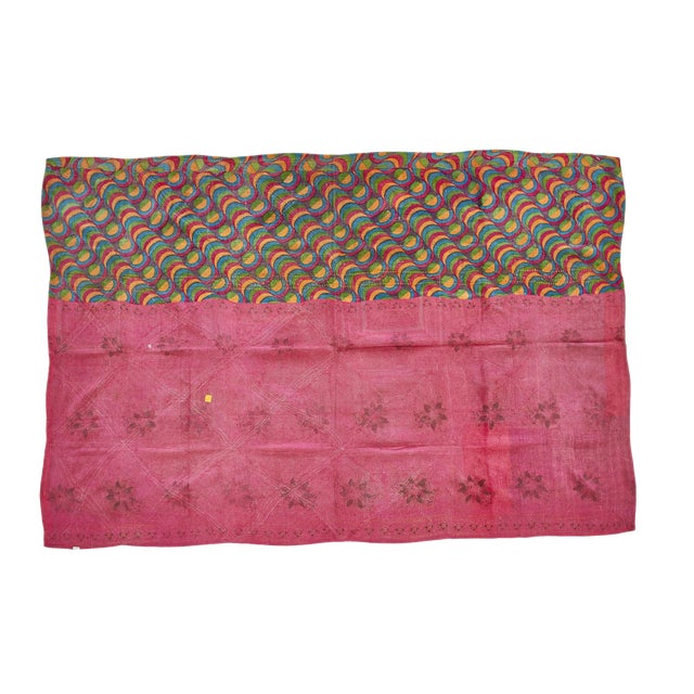 Indian Reversible Hand-Stitched Kantha Throw Blanket For Sale