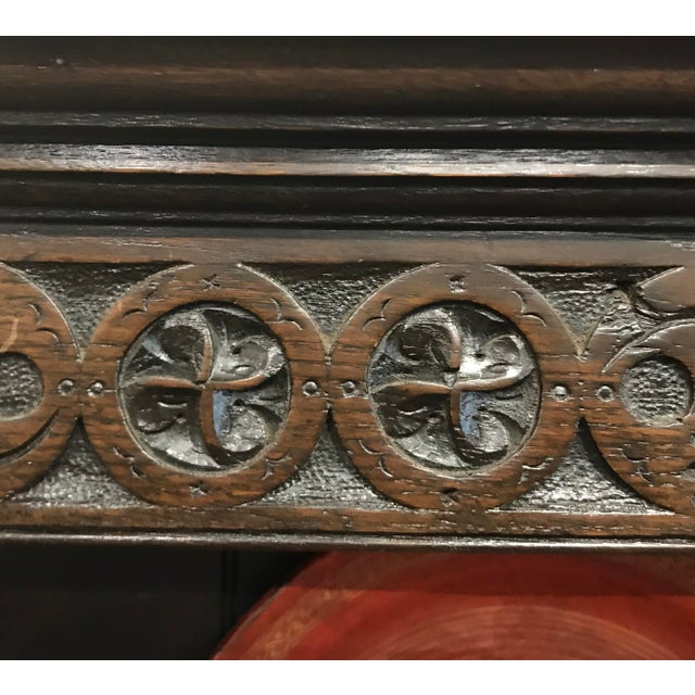 Brown 19th Century Gothic Hand Carved Server For Sale - Image 8 of 13