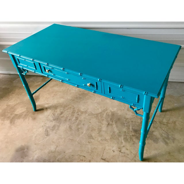 1960s Thomasville Lacquered Faux Bamboo Desk For Sale - Image 5 of 10