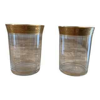 Antique Gold Encrusted Hand Blown Optic Glasses - a Pair For Sale