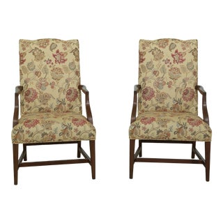 Pair Ethan Allen Cherry Open Arm Lolling Chairs For Sale