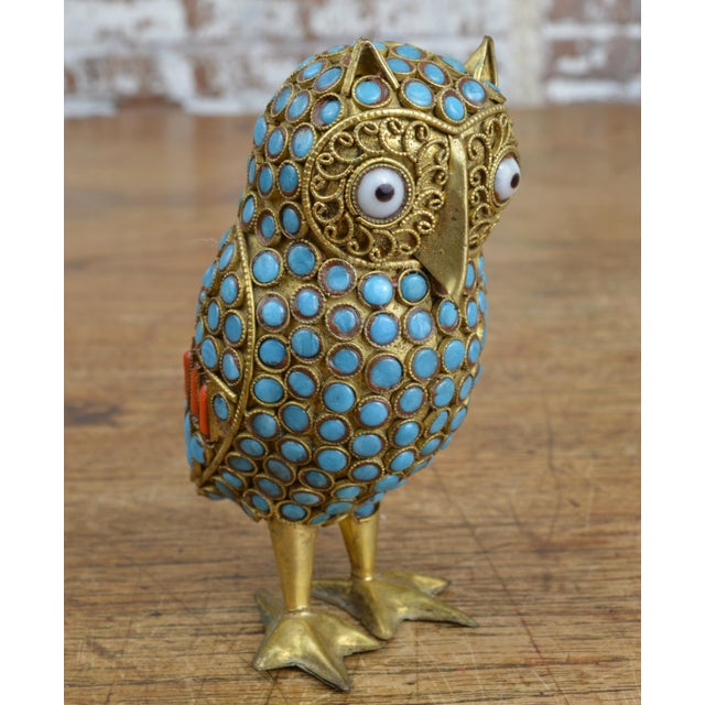 Vintage Tibetan or Nepalese small brass owl figurine intricately decorated with turquoise and coral beads with brass...