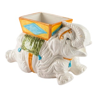 Hand Painted Italian Elephant Planter For Sale