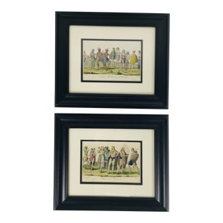 18th Century Antique Hand Colored Prints - A Pair For Sale