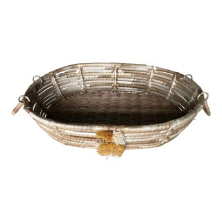 Boho Chic Woven PomPom Handled Basket For Sale