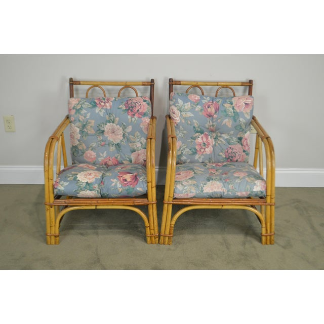 Ward Wicker Vintage Antique Pair of Split Reed Rattan Lounge Chairs For Sale - Image 4 of 13