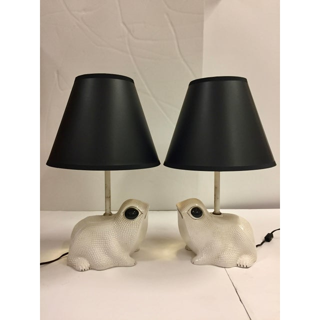 Children's Vintage Italian White Ceramic Hobnail Frog Lamp With Shades - a Pair For Sale - Image 3 of 13