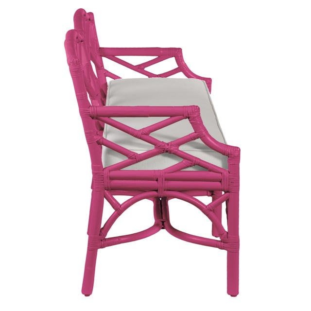 David Francis Chippendale Bench - Bright Pink For Sale - Image 4 of 6