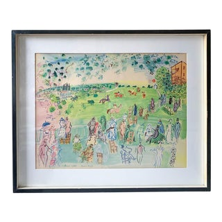 Mid Century Raoul Dufy Gouache Print - Ascot - Preparing for the Start, 1935 For Sale