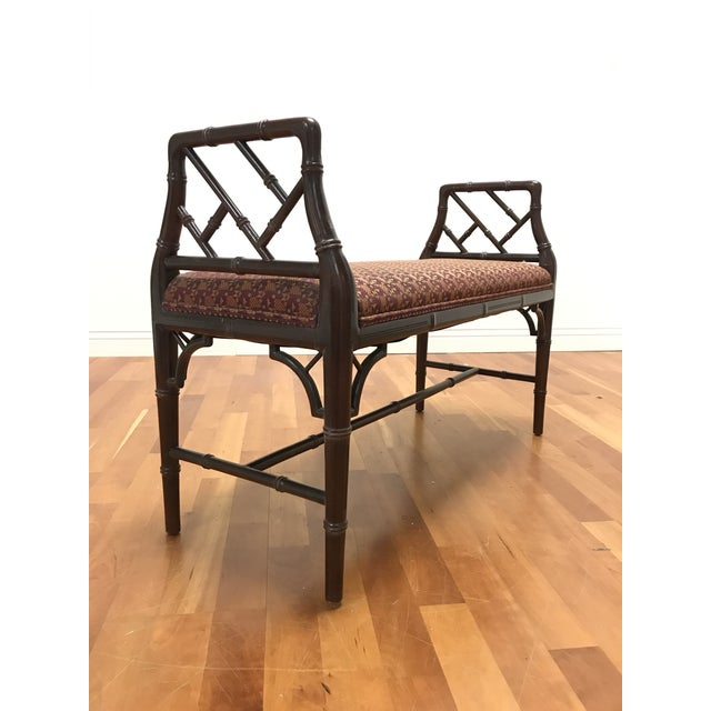 Chinese Chippendale Style Faux Bamboo Fretwork Window Bench For Sale - Image 6 of 6