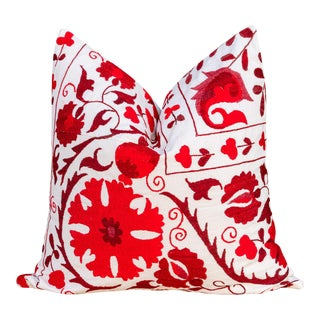 Mina Royal Red Suzani Pillow For Sale
