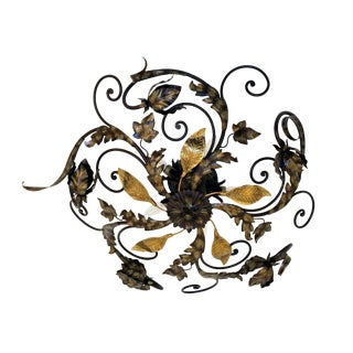 Large Leafy Wrought Iron Ceiling Mount For Sale