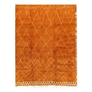 New Moroccan Style Orange Fluffy Rug 10' X 12'10 For Sale
