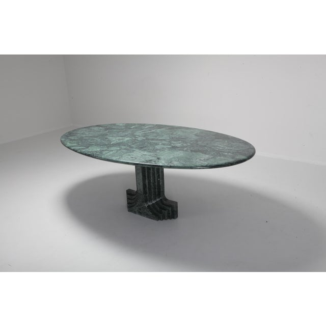 Carlo Scarpa Carlo Scarpa Dining Table 'Samo' in a Rare Green Marble For Sale - Image 4 of 11
