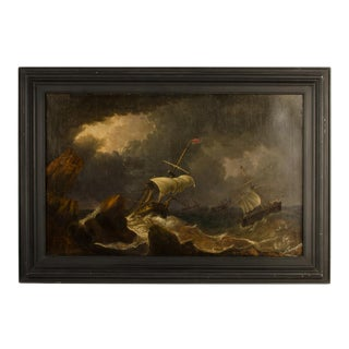 """""""Eye of the Storm"""" Contemporary Nautical Oil Painting, Framed For Sale"""