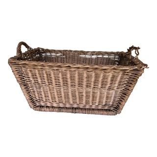 1950s French Woven Wicker Basket For Sale