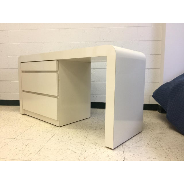 Wood Vintage White Lacquer Waterfall Desk For Sale - Image 7 of 9