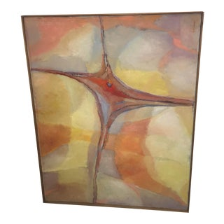 1960s Vintage Abstract Oil on Canvas Painting by Lillian Manney For Sale