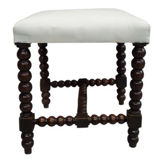 Pair French Modern Neoclassical Hand-Carved Wood Stacked Ball Benches / Stools
