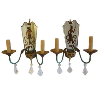 1940s French Tole, Eglomise and Crystal Sconces - a Pair For Sale