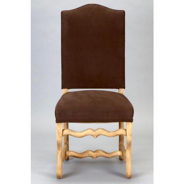Set of 6 French Os De Mouton Louis XIII Bleached Oak Upholstered Dining Chairs - Image 7 of 8