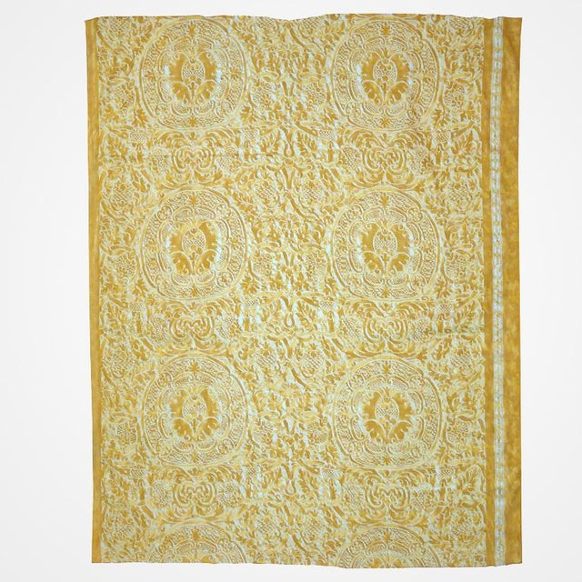 Vintage Fortuny fabric panel in the Orsini pattern. Italy 1957. Hand printed cotton in shades of yellow and gold on a...
