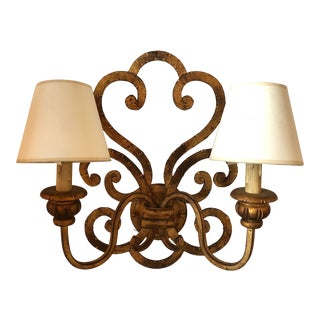 20th Century Transitional Two-Light Forged Iron Gold Leaf Sconce For Sale