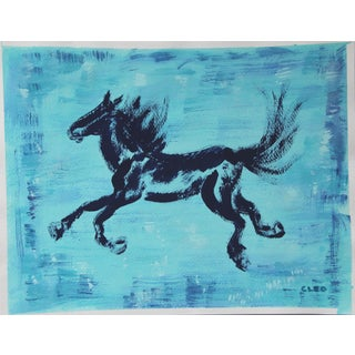 Abstract Horse Painting in Indigo by Cleo Plowden For Sale