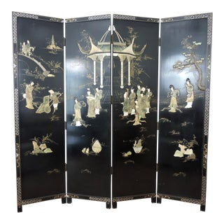 20th. Century Antique Chinese Black Lacquer & Jade Room Divider, Garden Pavilion & Nobles For Sale