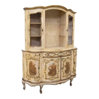 20th Century Vintage Venetian Painted Gilt Accented Display Cabinet For Sale