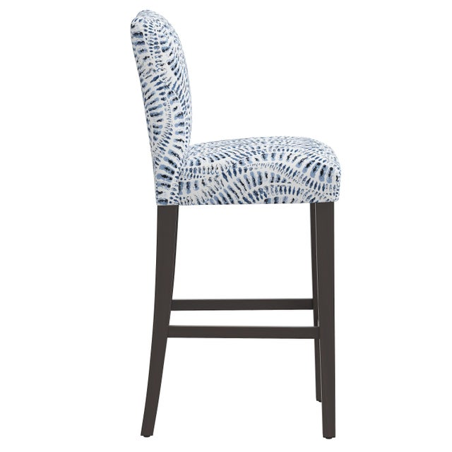 Transitional Bar stool in Snake Skin Blue For Sale - Image 3 of 8