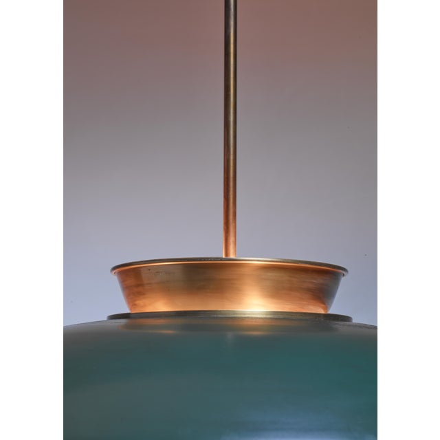 Large Swedish brass pendant lamp by Harald Notini, 1930s For Sale - Image 6 of 6