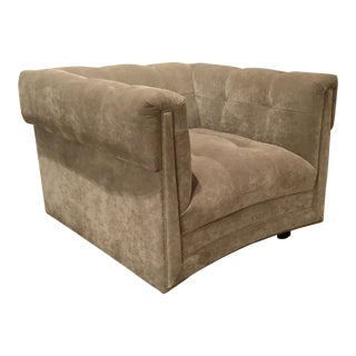 Modern Caracole Take It From the Top Gray Tufted Velvet Club Chair For Sale