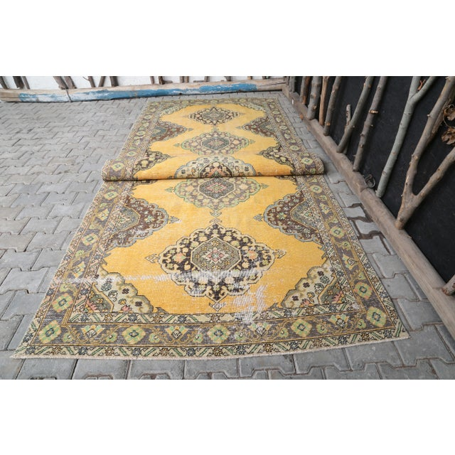 """1960's Wide Vintage Turkish Hand-Knotted Runner Rug - 5' X 12'4"""" For Sale - Image 10 of 11"""