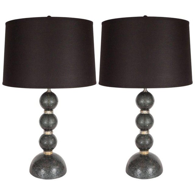 Metal Modernist Handblown Murano Table Lamps in Smoked Gunmetal For Sale - Image 7 of 7