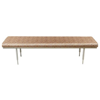 Newly Upholstered Mid-Century Spun Brushed Aluminum Benches For Sale